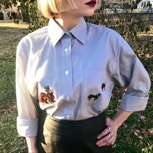 Vintage Horses Pinstriped Button Up Shirt